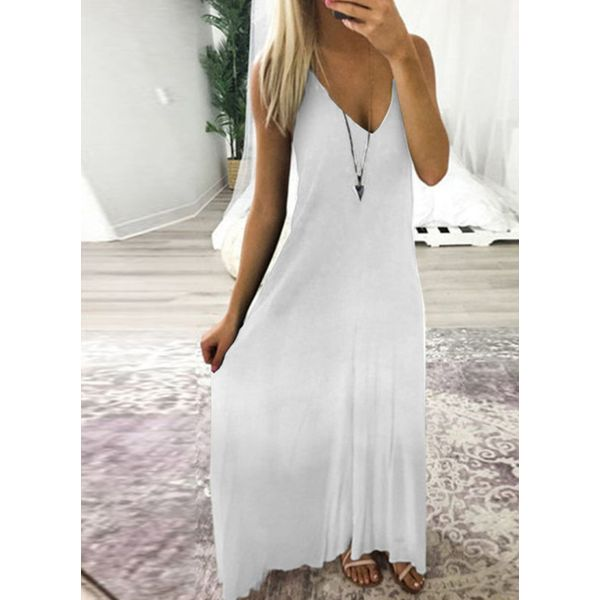 Casual Solid Slip Camisole Neckline A-line Dress (1955594895)
