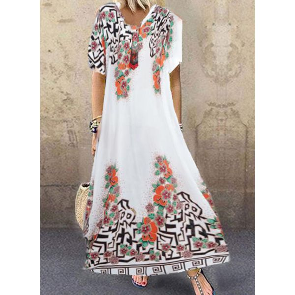 Casual Floral Tunic Round Neckline Shift Dress (1955595622)