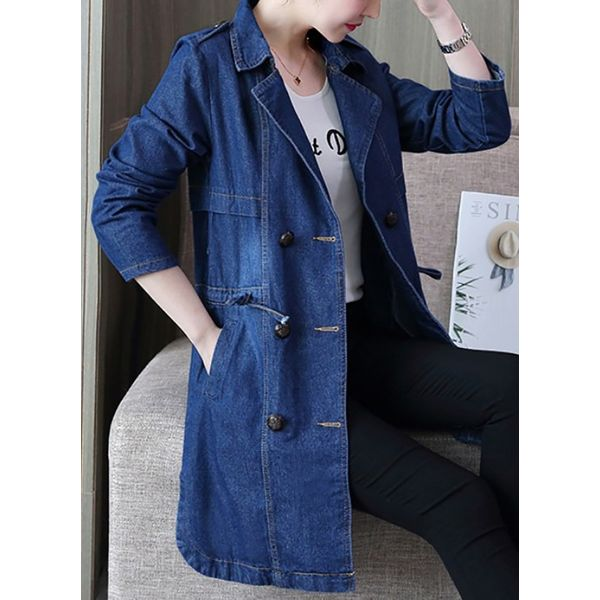 3/4 Sleeves Lapel Buttons Denim Jackets Coats (1715378790) 4