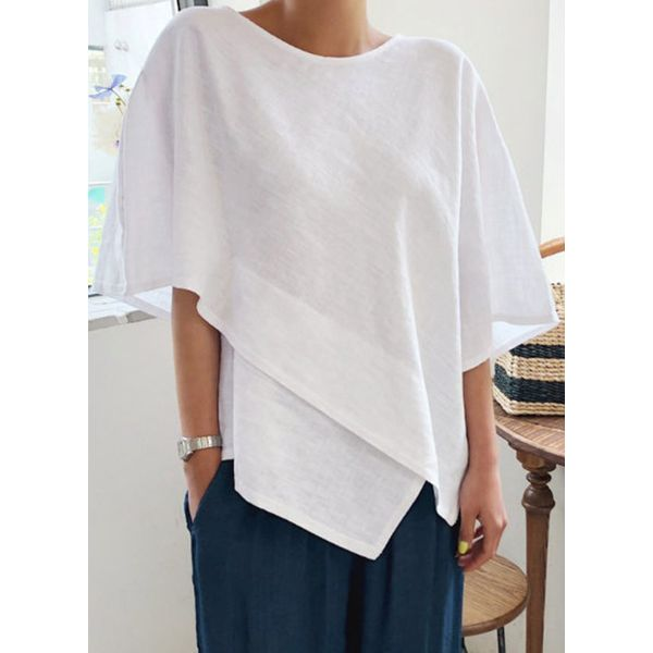 Solid Casual Round Neckline Half Sleeve Blouses (1645584109)