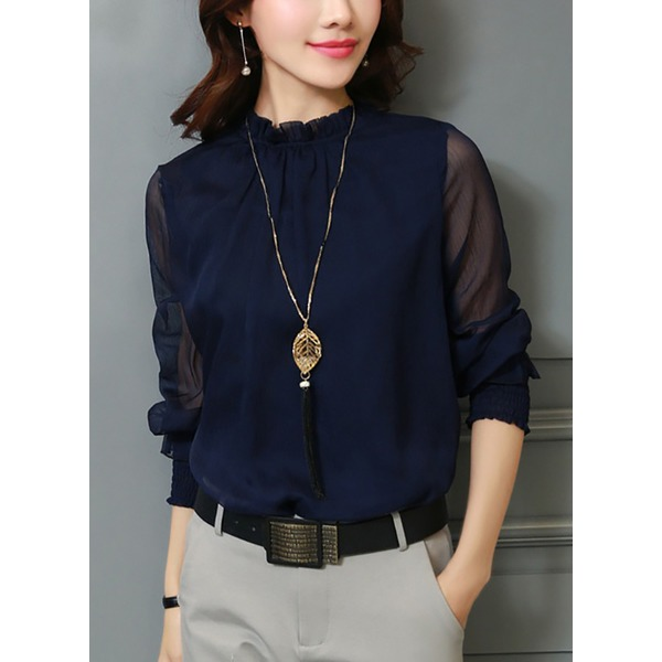 Solid Casual High Neckline Long Sleeve Blouses (1645265336) 11