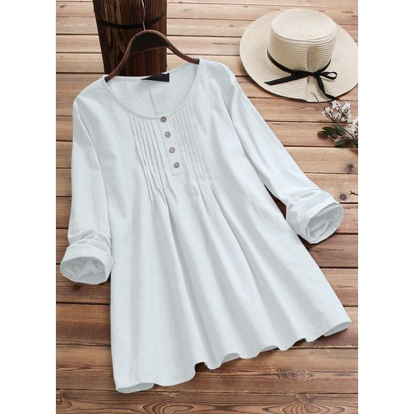 Solid Casual Round Neckline Long Sleeve Blouses (1645521334)