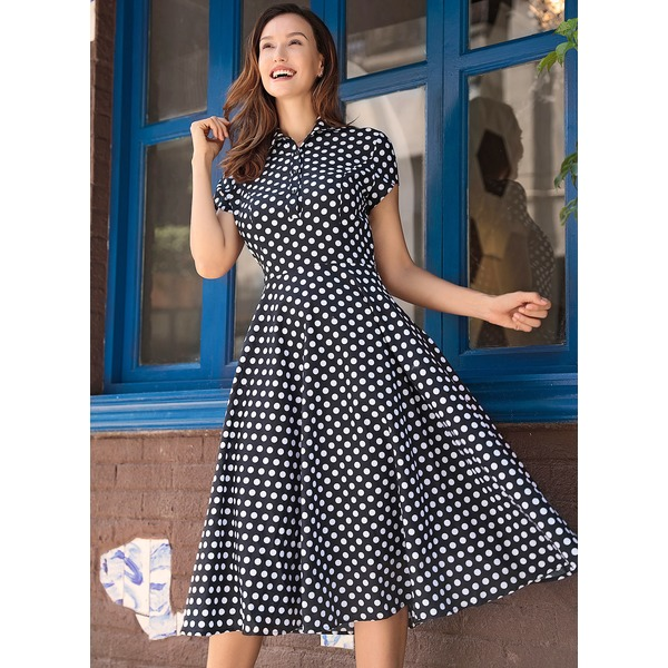 Polka Dot Short Sleeve Midi A-line Dress (1955148055) 3