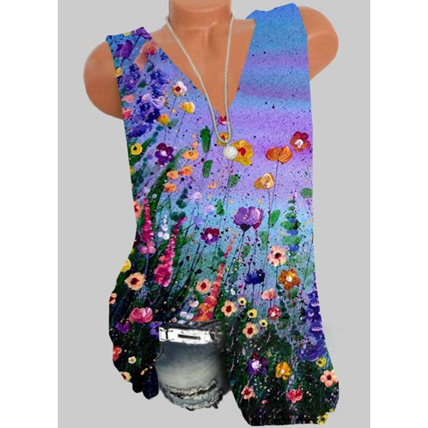 Floral V-Neckline Sleeveless Casual T-shirts (1685597567)