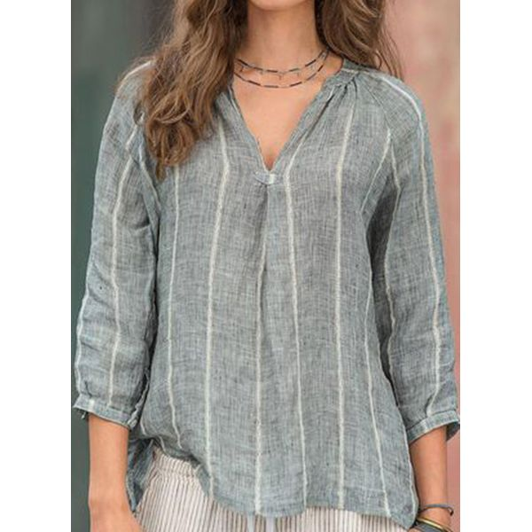 Color Block Casual V-Neckline 3/4 Sleeves Blouses (1645415351, Gray