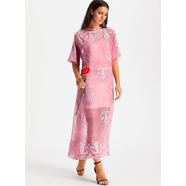 Solid 3/4 Sleeves Shift Dress (01955380191) 4