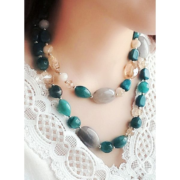 Casual Geometric Gemstone Without Pendant Necklaces (1845459098)