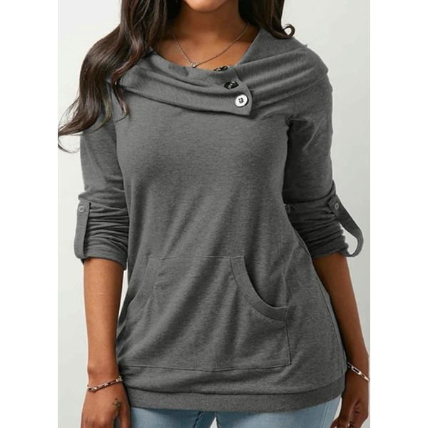 Solid Casual Round Neckline Long Sleeve Blouses (1645339284) 10