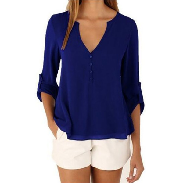 Solid Casual V-Neckline Half Sleeve Blouses (1645149101, Blue;coffee
