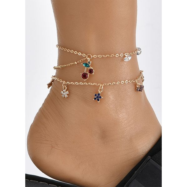 Casual Crystal Star Heart Anklet (1905570682)