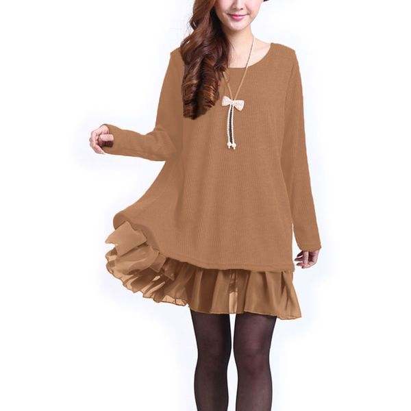 Solid Ruffles Sweater Above Knee Shift Dress (1955331292) 1