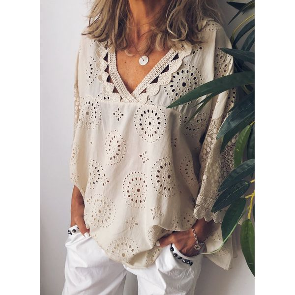 Solid Casual V-Neckline 3/4 Sleeves Blouses (1645403078, Apricot