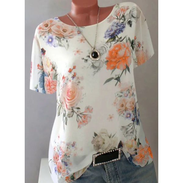 Floral Casual Round Neckline Short Sleeve Blouses (1645597978)