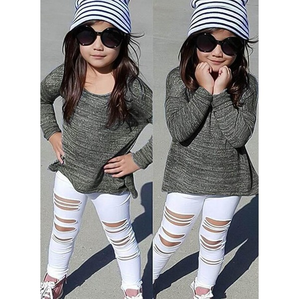 Girls' Cool Color Block Going out Long Sleeve Clothing Sets (30145329561) 2