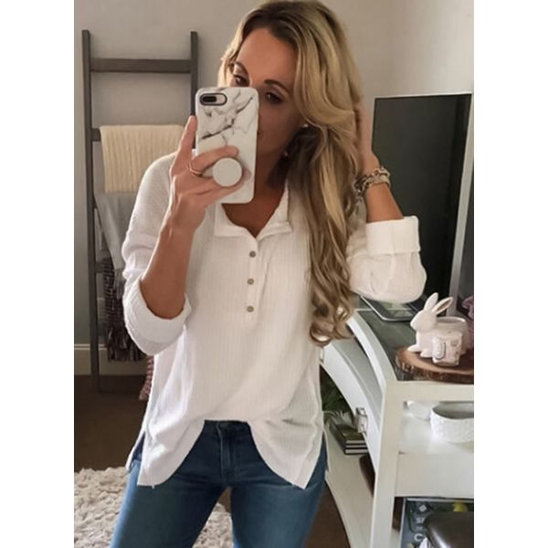 Solid Casual V-Neckline Long Sleeve Blouses (1645339240) 5