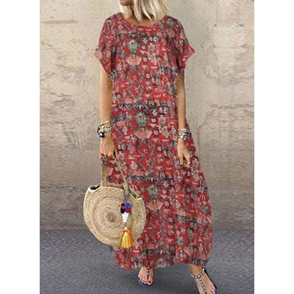 Casual Floral Tunic Round Neckline A-line Dress (1955589393)