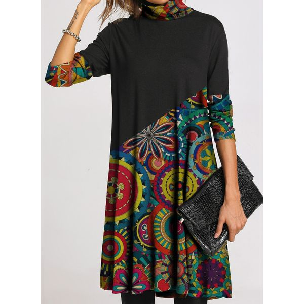 Casual Floral Tunic High Neckline Shift Dress (1955492175)