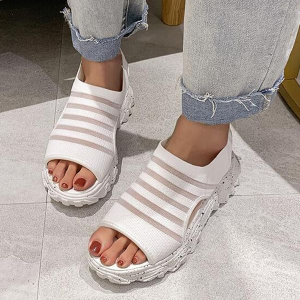 Women's Hollow-out Low Top Cloth Flat Heel Sandals (1625589161)