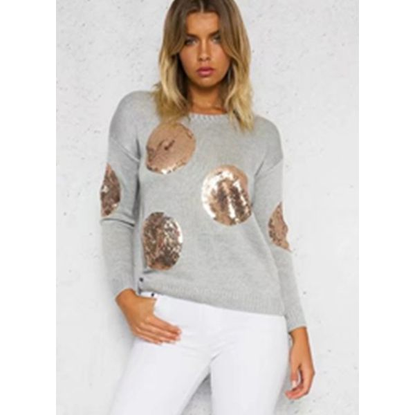 Round Neckline Solid Loose Short Sequins Shift Sweaters (1675376855) 2