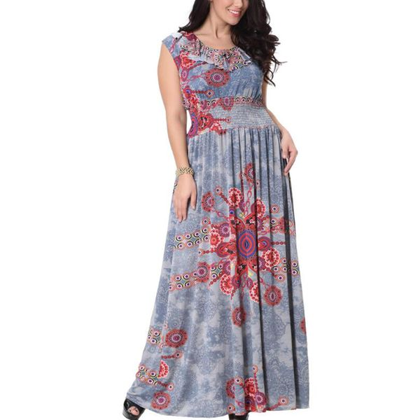 Plus Size Floral Sleeveless Maxi X-line Dress (1955380010) 3