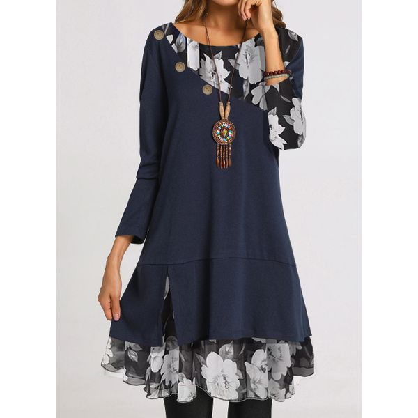 Casual Floral Tunic Round Neckline Shift Dress (1955541185)
