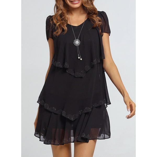 Solid Short Sleeve Above Knee A-line Dress (01955226677) 1