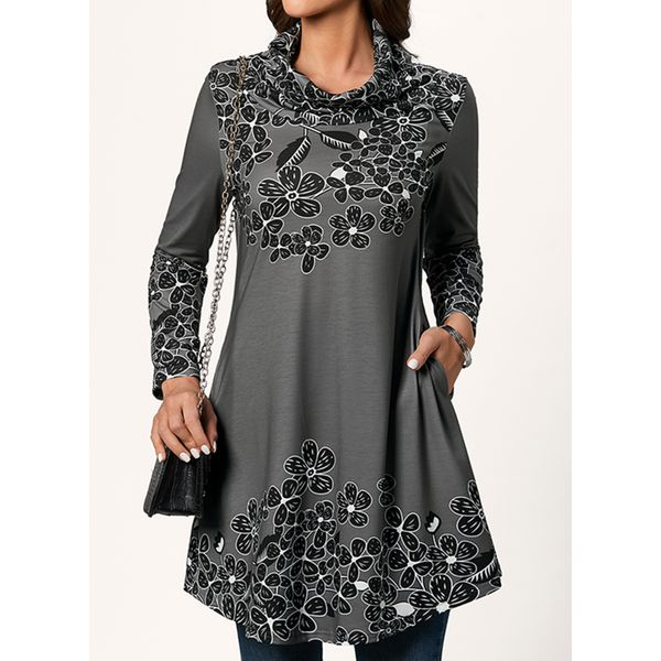 Floral Casual High Neckline 3/4 Sleeves Blouses (1645515255)