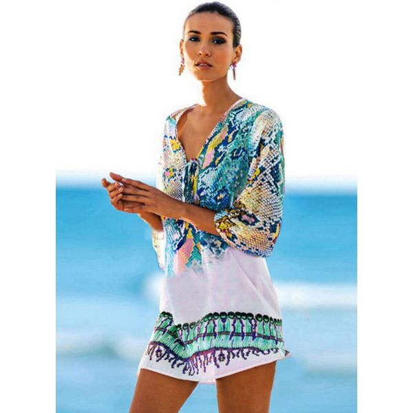Color Block Floral One-piece Swimwear (30015376427) 3