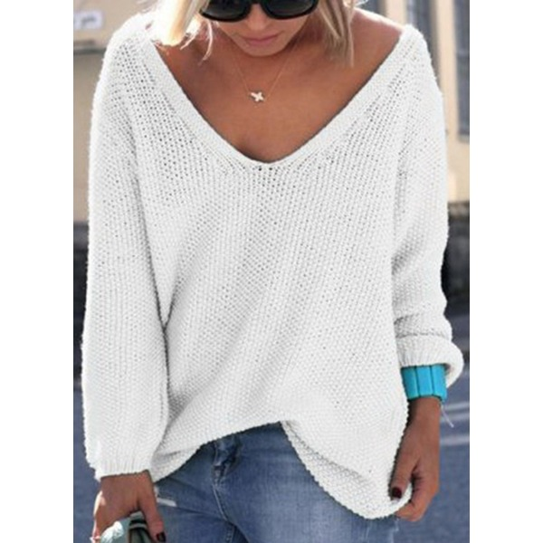 Solid V-Neckline Long Sleeve Casual T-shirts (1685195909)