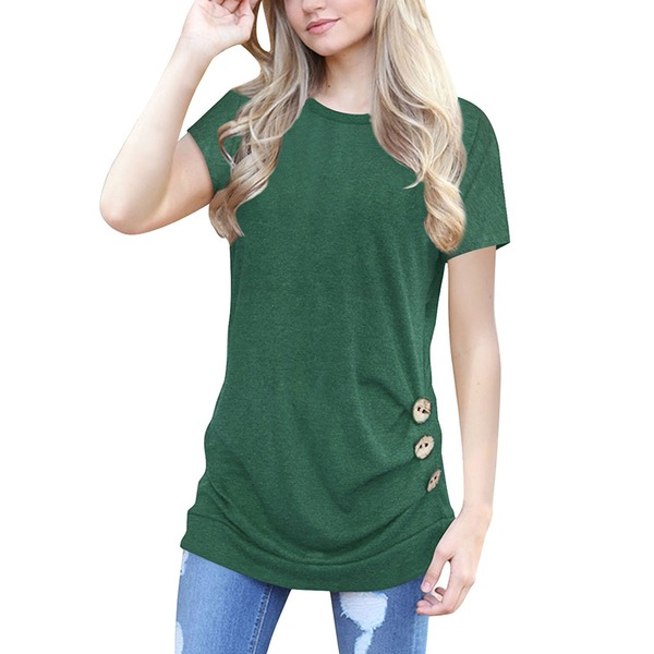 Solid Round Neck Short Sleeve T-shirts (1685275887) 3