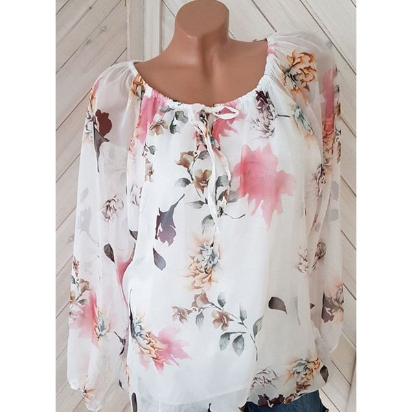 Floral Cute Round Neckline Long Sleeve Blouses (1645379002) 6