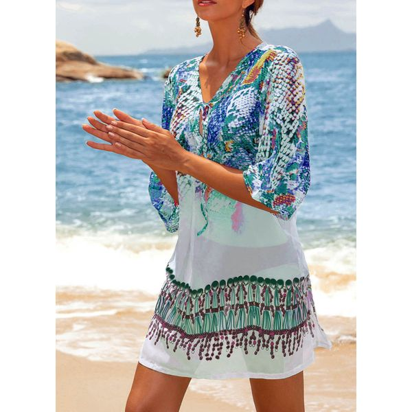 Polyester Pattern Floral Cover-Ups Swimwear (30015378038)