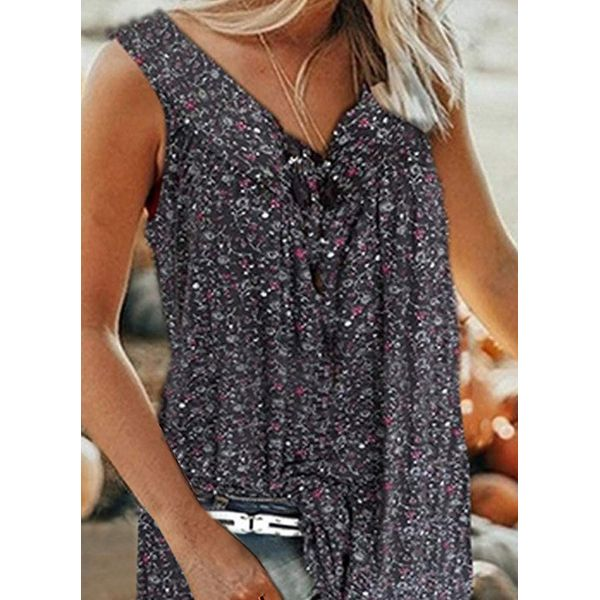 Plus Size Floral Casual V-Neckline Sleeveless Blouses (30355576076)