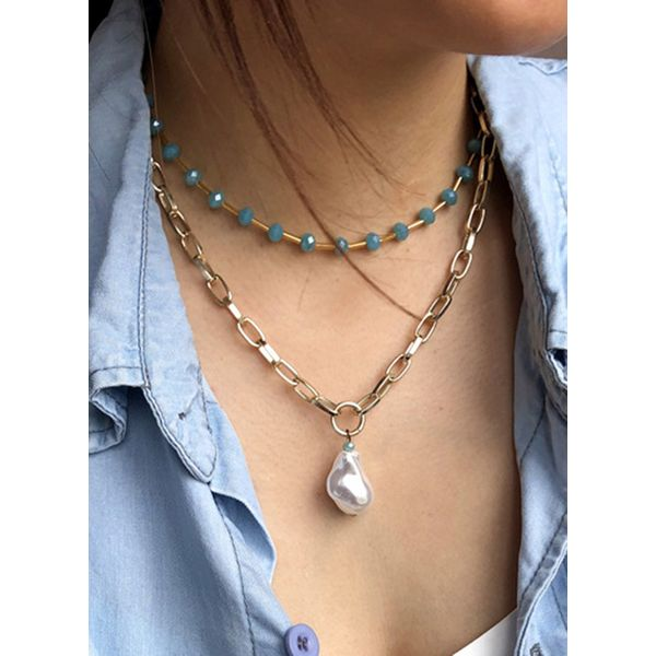 Casual Round Pearls Pendant Necklaces (1845595176)