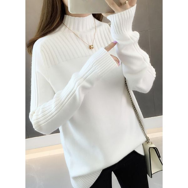 High Neckline Solid Loose Regular Shift Sweaters (1675380806)