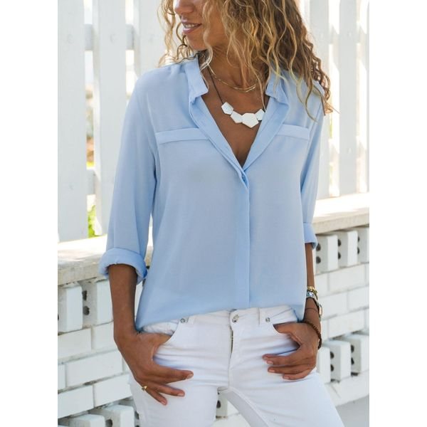 Solid Casual V-Neckline Long Sleeve Blouses (1645378278)