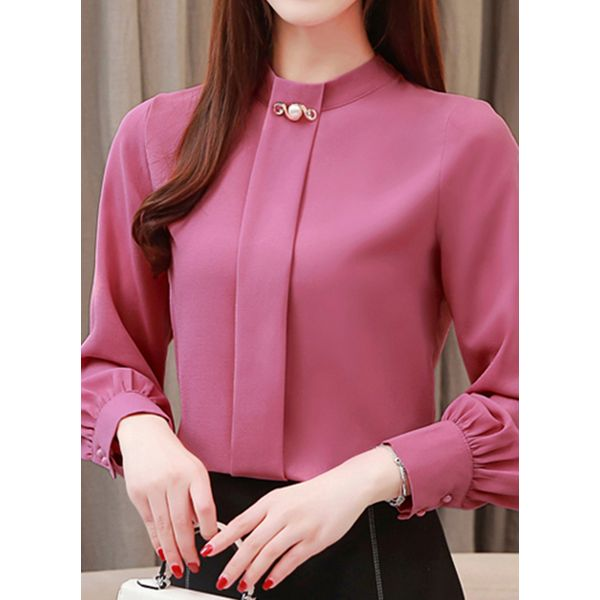 Solid Casual Round Neckline Long Sleeve Blouses (1645454331)