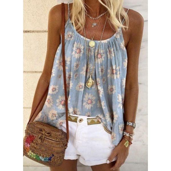 Floral Casual Camisole Neckline Sleeveless Blouses (1645579605)