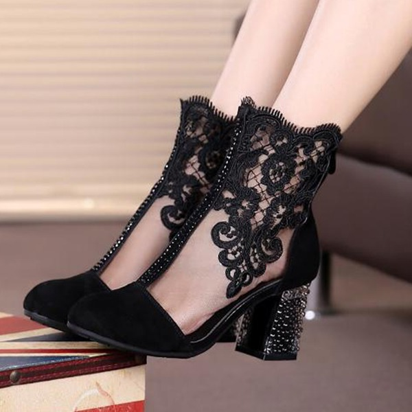 FloryDay / Zipper Chunky Heel Shoes (1625255711)