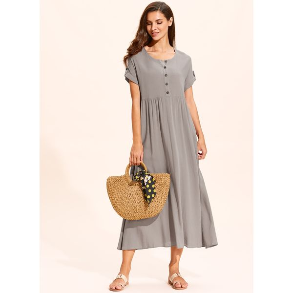 Casual Solid Buttons Tunic Shift Dress (01955407139)