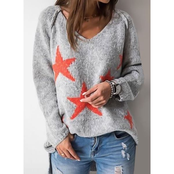V-Neckline Geometric Loose Regular Shift Sweaters (1675375519) 5