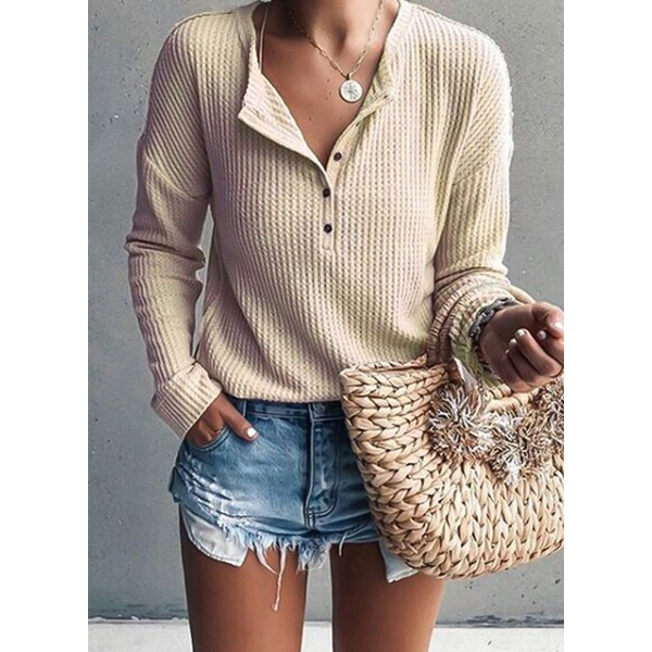 Solid Elegant Stand Collar Long Sleeve Blouses (1645328799)