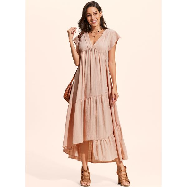 Solid Drop waist Short Sleeve High Low A-line Dress (01955402357, Pink