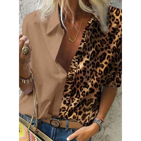 Leopard Casual Collar Long Sleeve Blouses (1645547627)