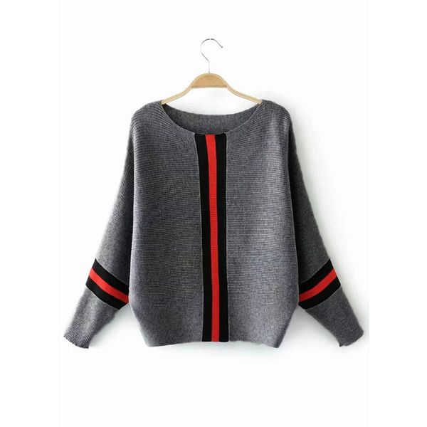 Round Neckline Stripe Bat Shirt Loose Shift Sweaters (1675370297) 10