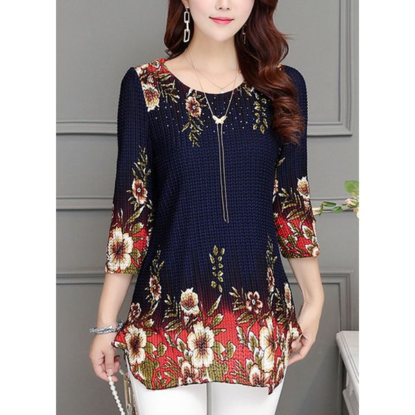 Floral Casual Round Neckline 3/4 Sleeves Blouses (1645381435) 11