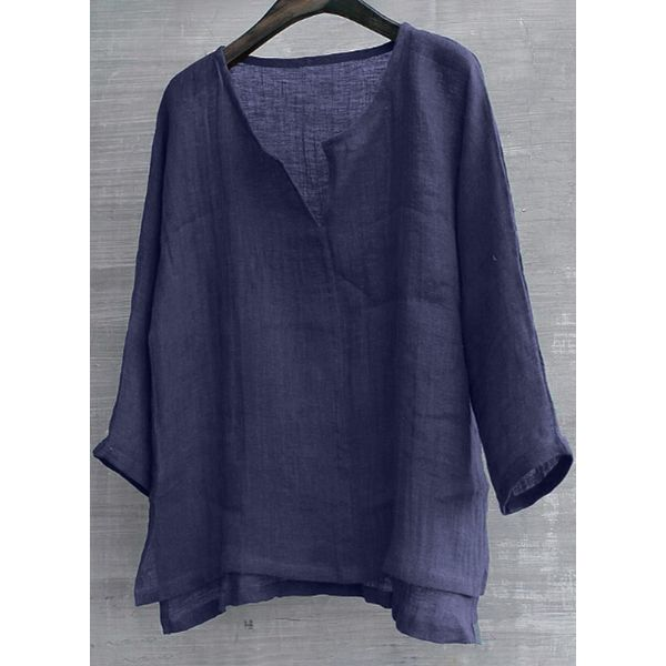 Solid Casual V-Neckline Long Sleeve Blouses (1645390146)