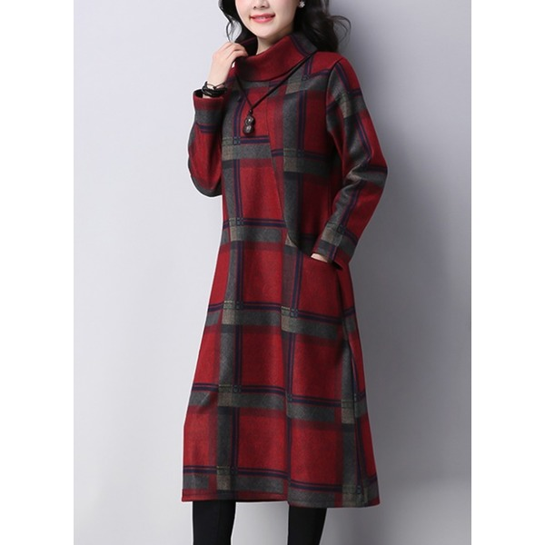 Plaid Long Sleeve Midi A-line Dress (1955331269) 5
