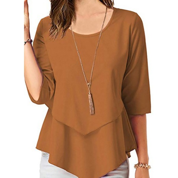 Solid Round Neckline 3/4 Sleeves Blouses (1645318822) 5