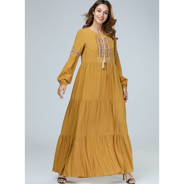 Plus Size Color Block Tassel Long Sleeve Maxi Shift Dress (1955380242) 4